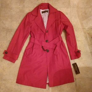 Marvin Richards Belted Red Trench Coat Size L NWT